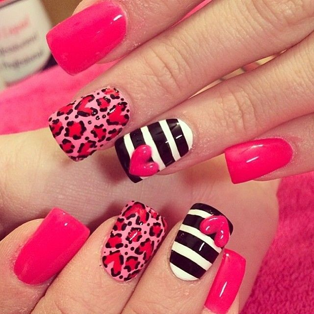 Pink, black and white stripes, pink leopard nails