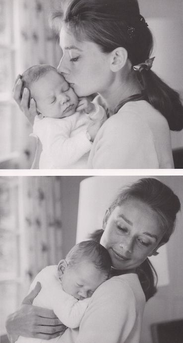 Audrey Hepburn with her son Sean, after a few weeks of his birth, 1960. Photo by Mel Ferrer