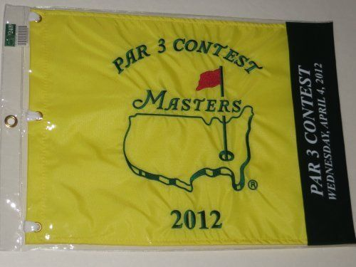 2012 MASTERS Golf Tournament Par 3 Three Contest Pin Flag Augusta National  2012 Masters Golf Tournament Par 3 Flag  high quality embroidered flag  Bubba Watson 1st Masters Win  Masters Golf Merchandise  Great Display Item