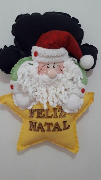 Enfeite de Natal Papai Noel, confeccionado em tricoline e cheio com manta acrilica siliconada.