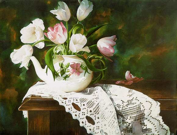 Tulips and Lace by Artist Arleta Pech - her watercolor paintings are incredible!