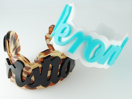 Plexiglass bracelet with your name. personalized bangle Sweet Papillon by Veronica Cattaneo $38