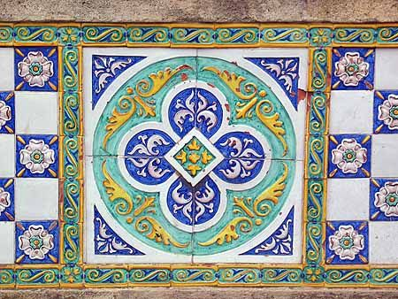 Ceramic tiles on the Ponte San Francesco bridge, Caltagirone, Sicily - handmade tiles can be hand painted and customized