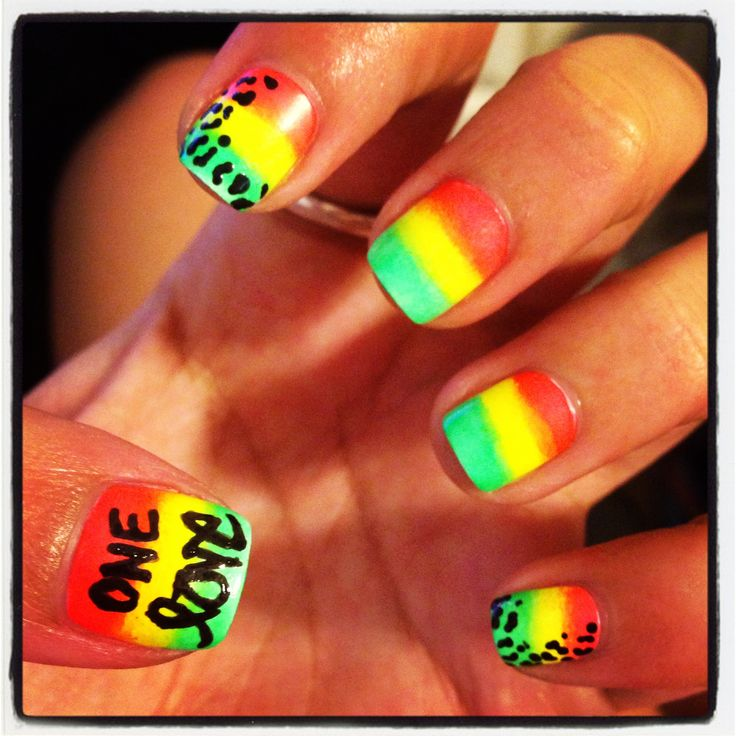 Neon ombré rasta nail art! Rastafarian gradient. One love! Cute summer nail art. Cheetah print.