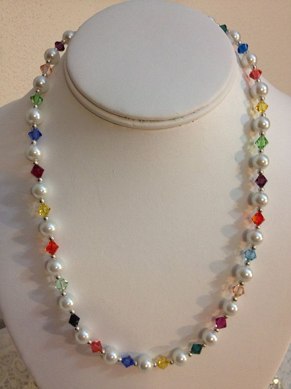Multi-Colored Swarovski with Pearls necklace by karlajophoto