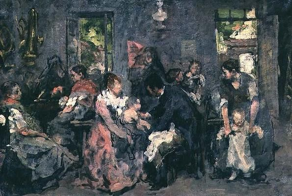 "Vacunación rural (""Rural vaccination""). Edouard- Hippolyte Margottet. 187? Localización: Musée Antoine Lécuyer (Saint-Quentin, Francia). https://painthealth.wordpress.com/2016/01/28/vacunacion-rural/"