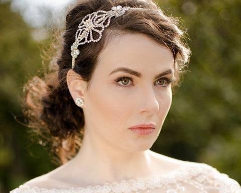 Vintage Side Headpieces - Vintage Style Rhinestone And Pearl Headband, Grace