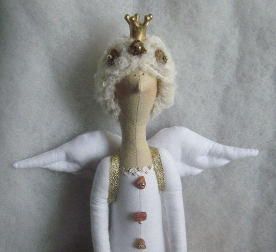 Tilda Doll amber Priness gold Fairy Godmother by Xena28 on Etsy, $40.00
