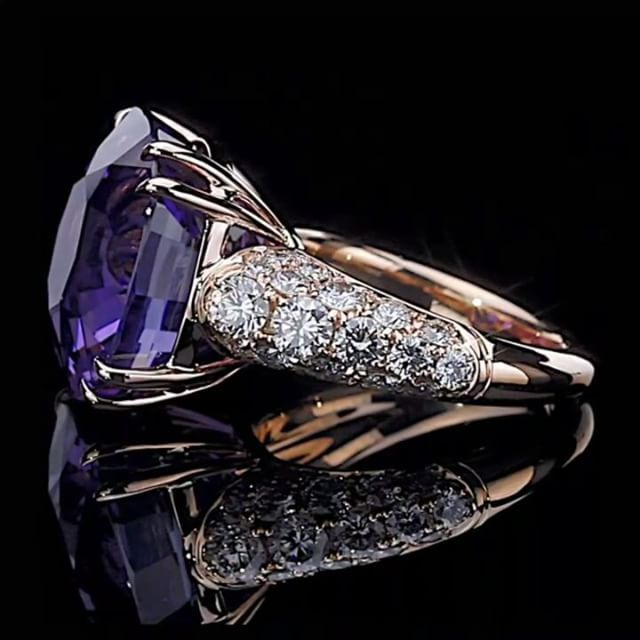 Leon Mege. A magnificent natural purple sapphire is the star of this one-of-a-kind custom ring. The rose gold setting gently embraces the center stone with double claw prongs and is finished with micro pave set into the shank.