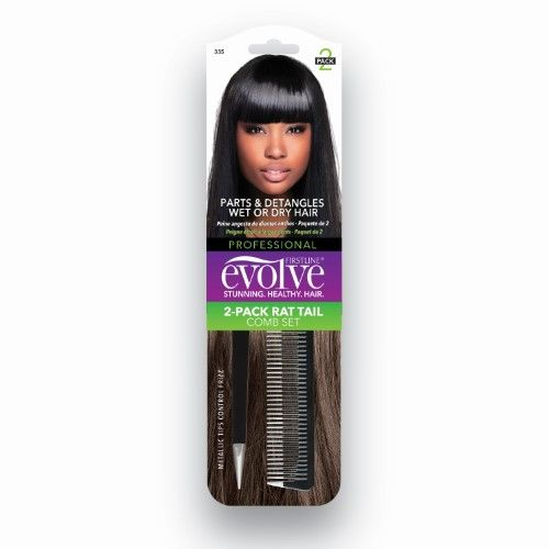 Firstline Evolve Rat Tail Combs, Black, 2 Ct | Jet.com