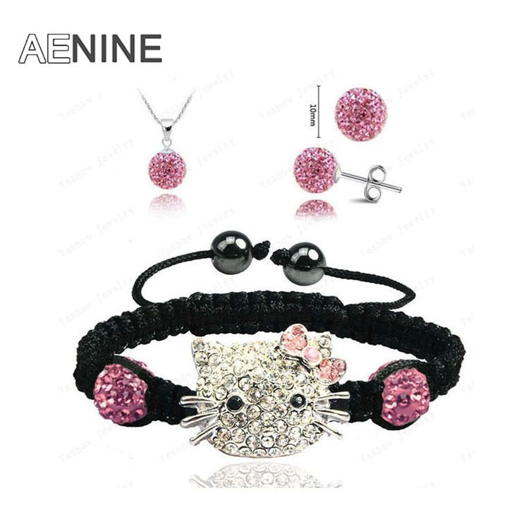 AENINE Cute Hello Kitty Jewelry Sets 10mm Micro Pave CZ Disco Ball Beads Crystal Neckalce & Bracelet & Earrings For Girls SHSE41