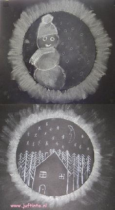 Teken met een passer of met behulp van een bord een cirkel en knip deze uit. Teken in deze cirkel je winterlandschap. Leg je tekening omgekeerd op een ander zwart papier. Maak rond je cirkel een rand met wit of een andere kleur krijt. Dit krijt veeg je verder uit met je vinger. Om te …