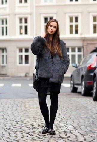 Women's Charcoal Fur Jacket, Black Lace Skater Dress, Black Leopard Leather Tassel Loafers, Black Leather Crossbody Bag