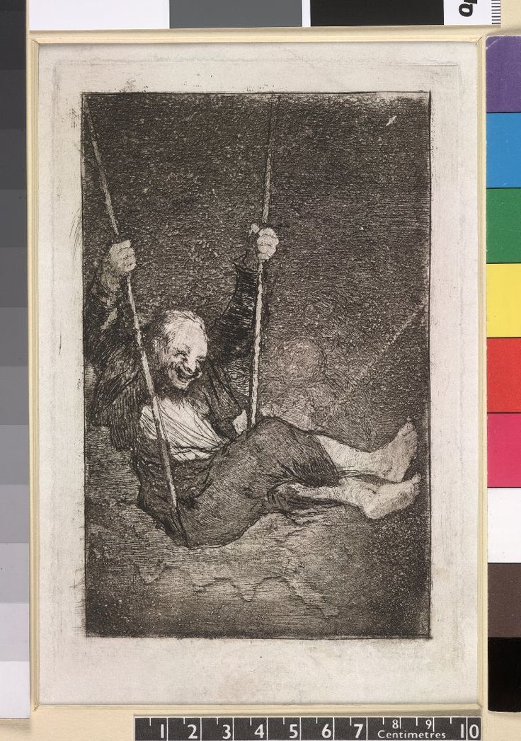 Image gallery: Viejo columpiandose (Old man on a swing) - posthumous pre-1859 impression. 1818-23 etching, burnished aquatint and /or burin