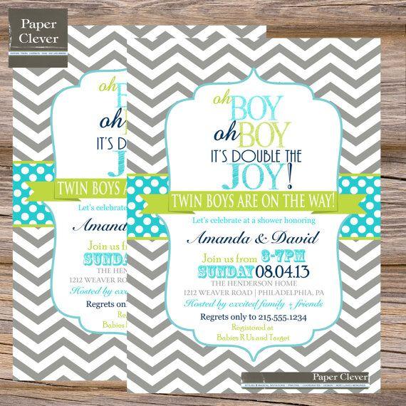 twins baby shower invitation oh boy double joy digital printable file
