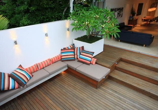 small patio ideas | ... corner furniture with soft cushions, space saving small backyard ideas