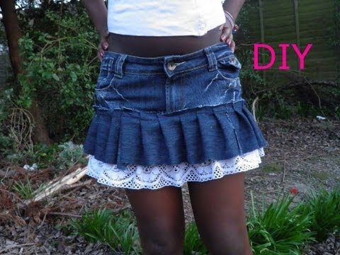 DIY fashion ruffle mini skirt recycling old jeans