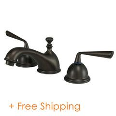 """Kingston Brass Two Handle 8"""" to 16"""" Widespread Lavatory Faucet with Brass Pop-up Oil Rubbed Bronze KS3965ZL"""