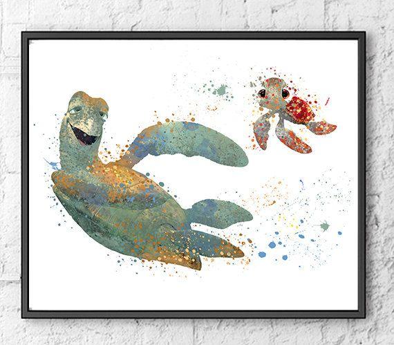 Finding Nemo Disney Watercolor, Disney Pixar, Nemo Dory Art Fish Sea Nautical Poster, Nursery Watercolor - 140