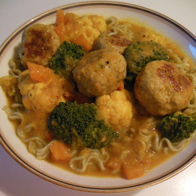 Opskrift på lækker boller i karry, med kun 62 kalorier pr. 100g
