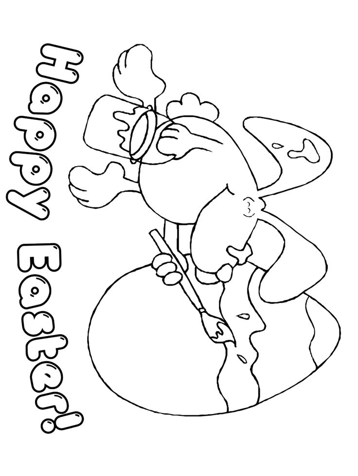 Easter Coloring Page Happy Rabbit