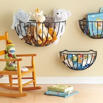 Play Room - Children's bedrooms and playrooms are a challenge to organize but some simple wire storage keeps toys off the floor and saves space. These garden baskets can be mounted low on the wall within reach of little ones so they can tidy up after themselves.
