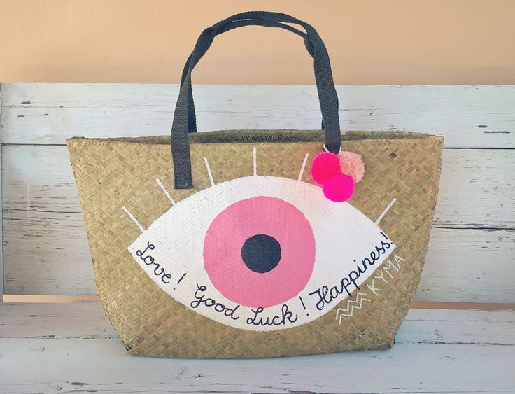 Painted Beachbag Ibizabag Strawbag Frenchbasket ~ Lucky Eye ~ #Handmade | #Lifestyle | #Art ~ Visit my website to see more about my work: http://www.kymastyle.com ~ You can find KYMA pieces @ my #DaWanda Shop: http://kymastyle.dawanda.com ~ contact: kymastyle@yahoo.com ~ worldwideshipping