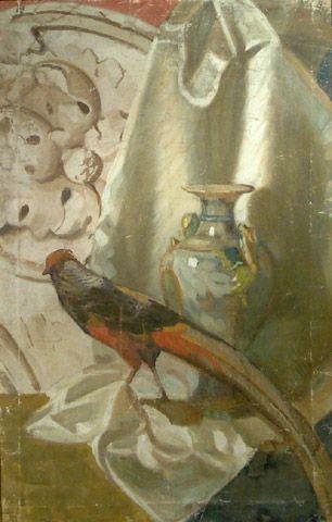 Luigi Varoli / Natura morta con fagiano / tempera su tela, cm 97x63 (Lugo Raccolta comunale d'arte)