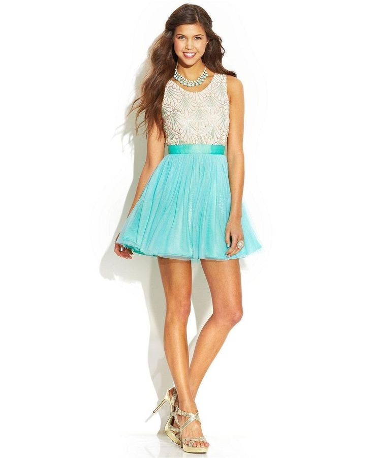 As U Wish Juniors Beaded Chevron Short Prom Dress good - www.ritz ...