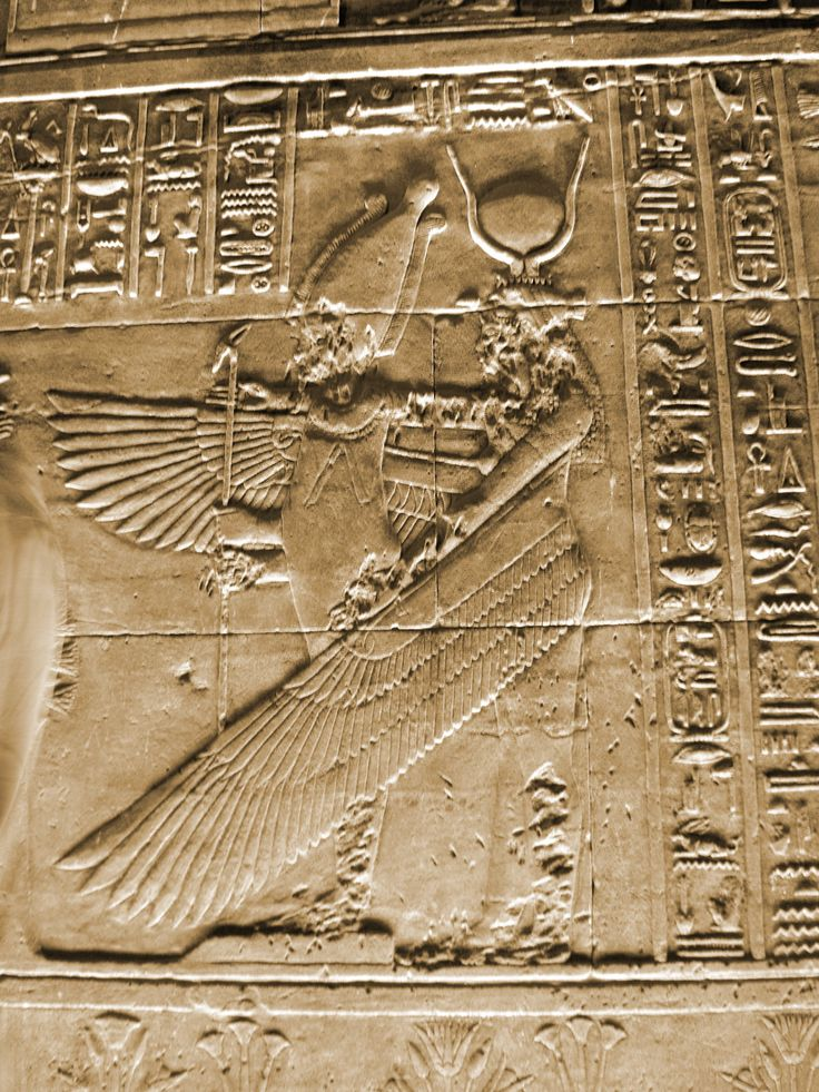 Mural art..The mysterious Egyptian Goddess Isis with angel wings in the temple of Philea