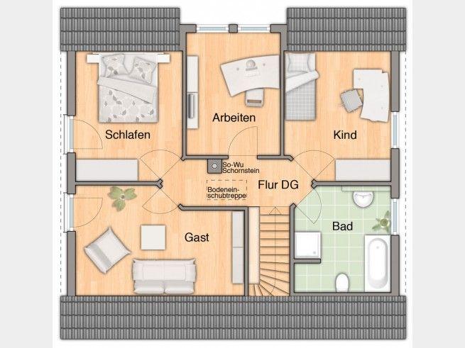 Grundriss dg flair 134 einfamilienhaus von town country for Japanisches haus grundriss