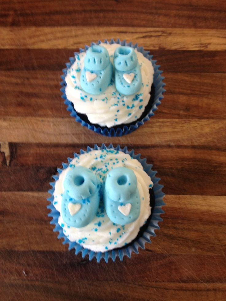 Vanilla Baby Shower Cupcakes with Blue Booties