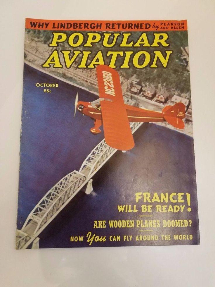 OCT 1939 POPULAR AVIATION airplane magazine