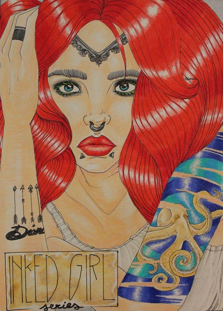 inked girl ginger red hair tattoo illustration poster lips