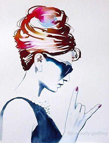 Audrey Rocks Art Print Original Painting Fashion Illustration Vintage 1960s Style Icon Poster