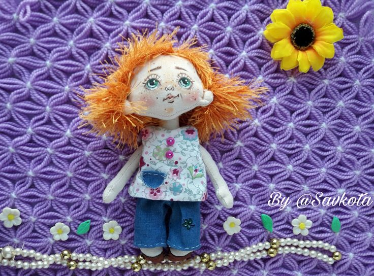 Textile doll, decorative doll,collectible dolls, doll cotton, rag doll, art doll, talisman for good luck by Savkota on Etsy