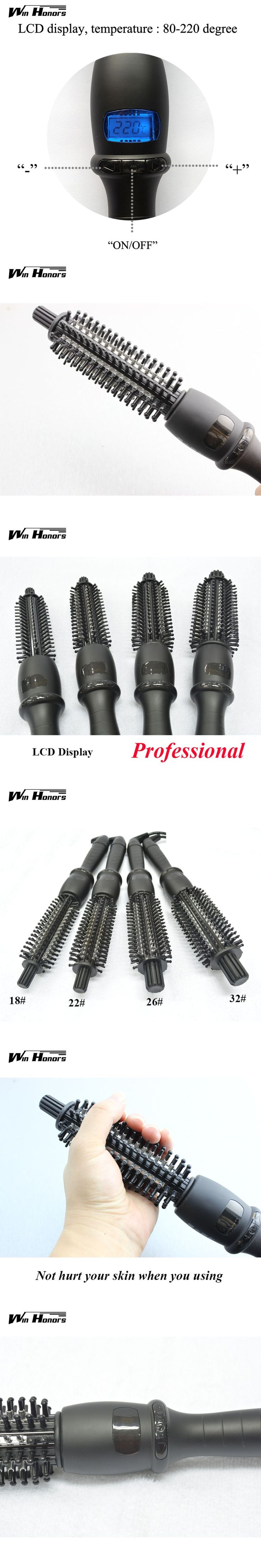 Professional Electric Hair Brush Hair Curlers Rollers Black Ceramic LCD Screen Hair Curler Curling Wand Iron Hair Care Tools