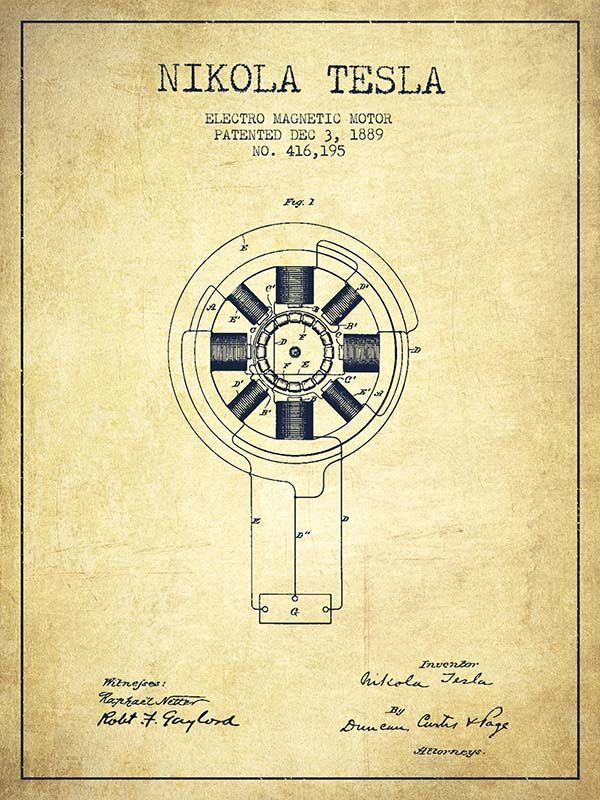 Nikola Tesla Patent Drawing From 1889 – Vintage
