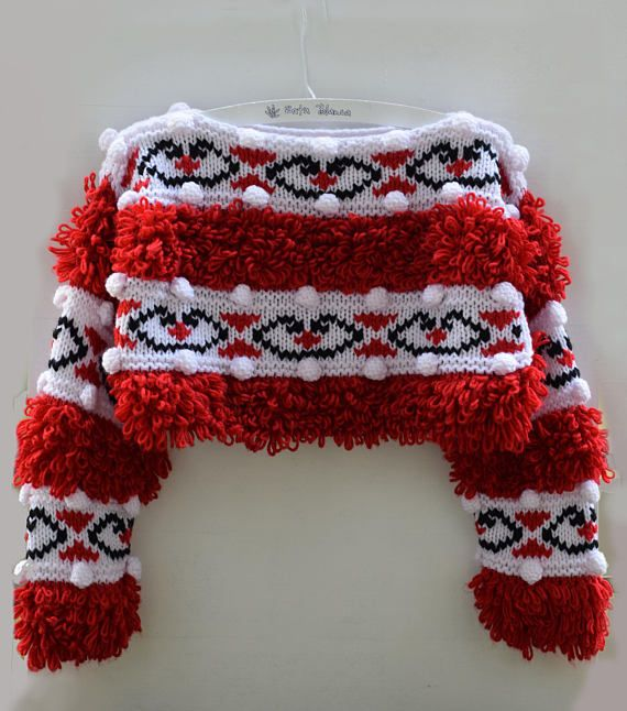 Red sweater handmade White black jacquard colorful jumper