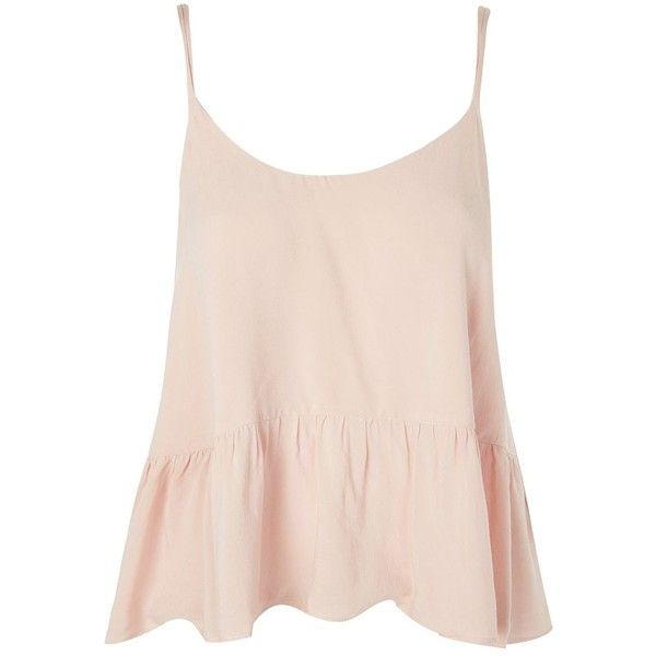 TopShop Casual Peplum Camisole Top ($30) ❤ liked on Polyvore featuring tops, nude, viscose top, topshop cami, topshop tops, pink camisole and summer peplum tops