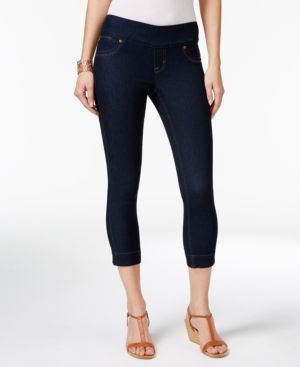 Style & Co Petite Ella Pull-On Rinse Wash Capri Jeans, Only at Macy's - Black P/S