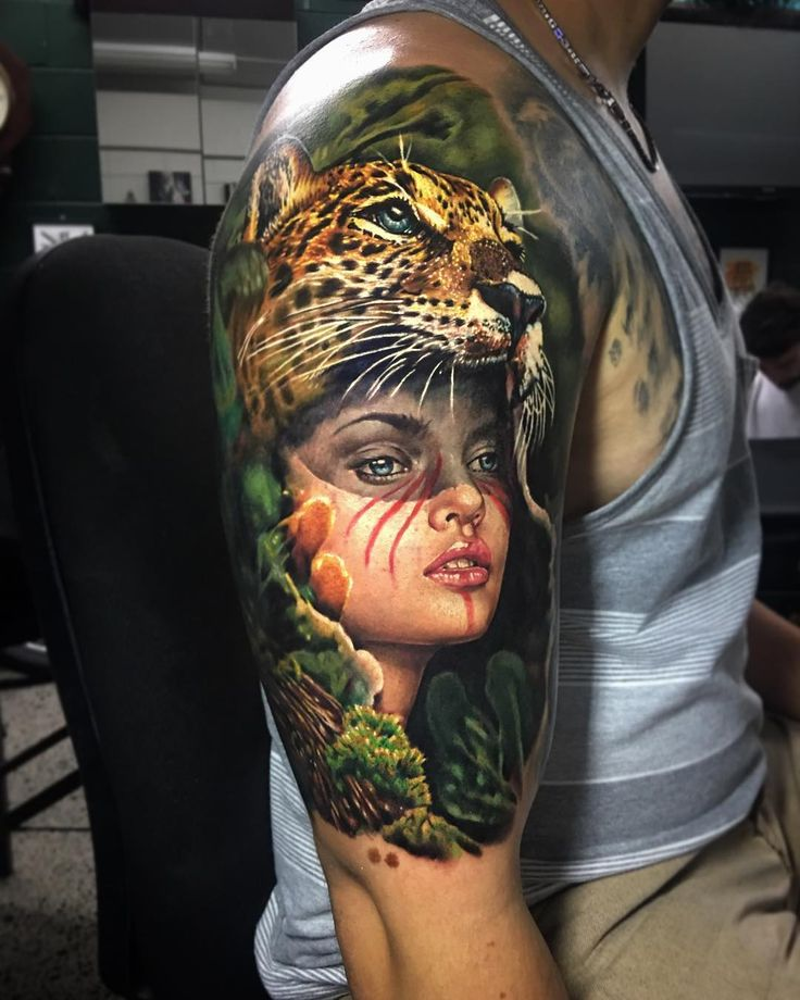 Perfect color tattoo art of Wild Girl motive done by tattoo artist Ben Kaye from New Zealand