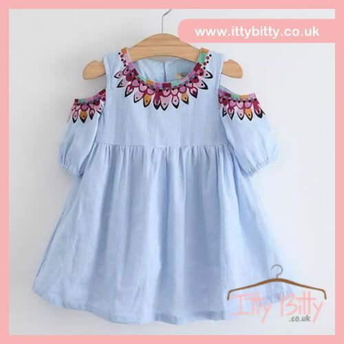 ADDED TO THE SALE | Itty Bitty Blue Cold Shoulder Dress 😍  Shop here ⭐️ https://www.ittybitty.co.uk/product/itty-bitty-pink-bunny-trainers/?utm_content=bufferaf7f3&utm_medium=social&utm_source=pinterest.com&utm_campaign=buffer  🅿️ PayPal or 💳 Credit/Debit card 🔐Secure website