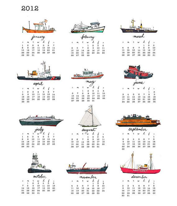 2012 Ships Tea Towel Calendar by bowsprite on Etsy, $20.00