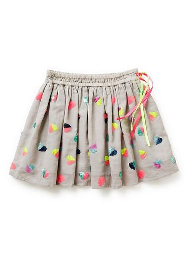 100% cotton skirt. Woven drindle skirt with all-over multi-coloured sequin heart embellishment. Elasticated waistband with decorative side ribbon ties. Available in Dove Grey.