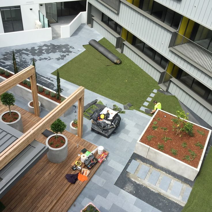 Apartment Courtyard Landscaping -  Hacer Completed Project (Smith Street Collingwood Apartments).  www.landworkslandscaping.com.au