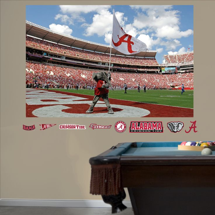 Alabama crimson tide big al flag mural decor pinterest for Alabama football mural