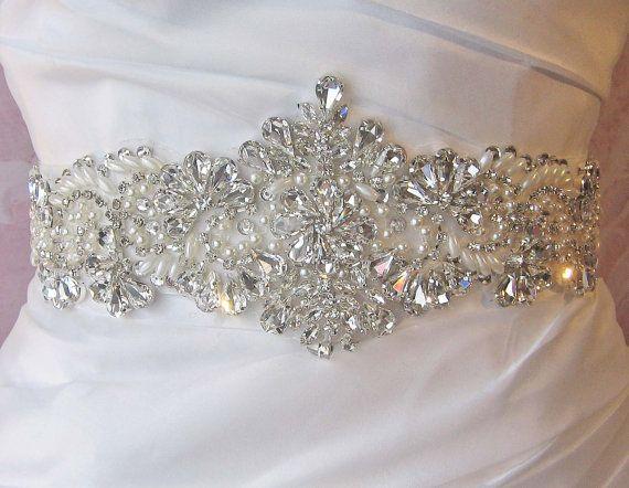 Crystal Rhinestone and Pearl Sash Beaded Bridal by TheRedMagnolia, $108.00
