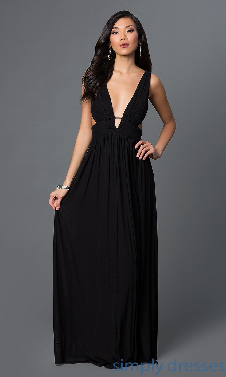 cq4131dk low vneck black formal dress with side cut