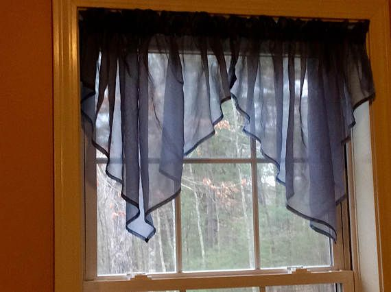 One Pair Of Carolina Blue Color Sheer Swag Valances 58 X